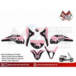 Stiker Motor Scoopy Black Pink